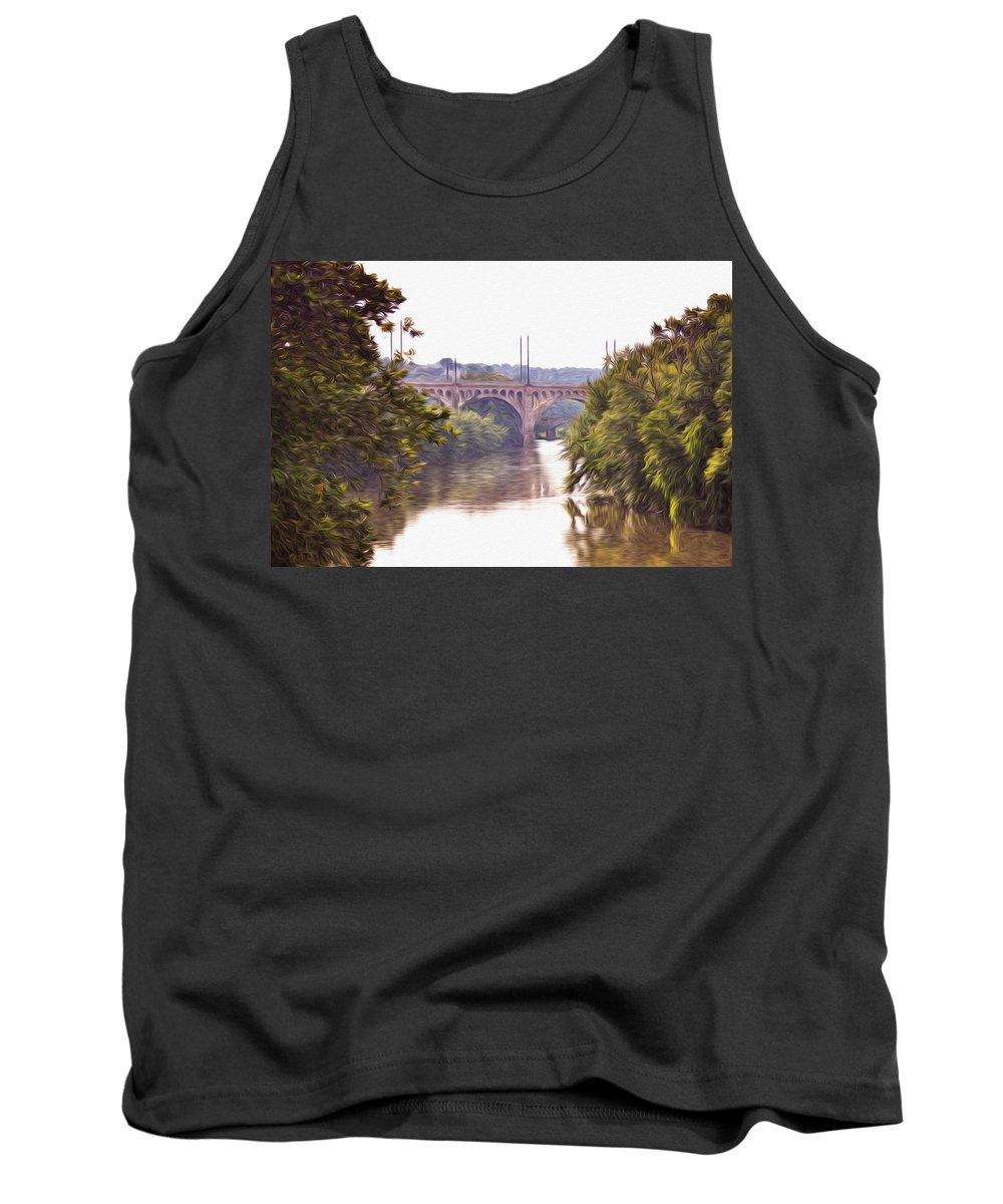 Manayunk Bridge Along The Schuylkill River Tank Top featuring the photograph Manayunk Bridge Along The Schuylkill River by Bill Cannon