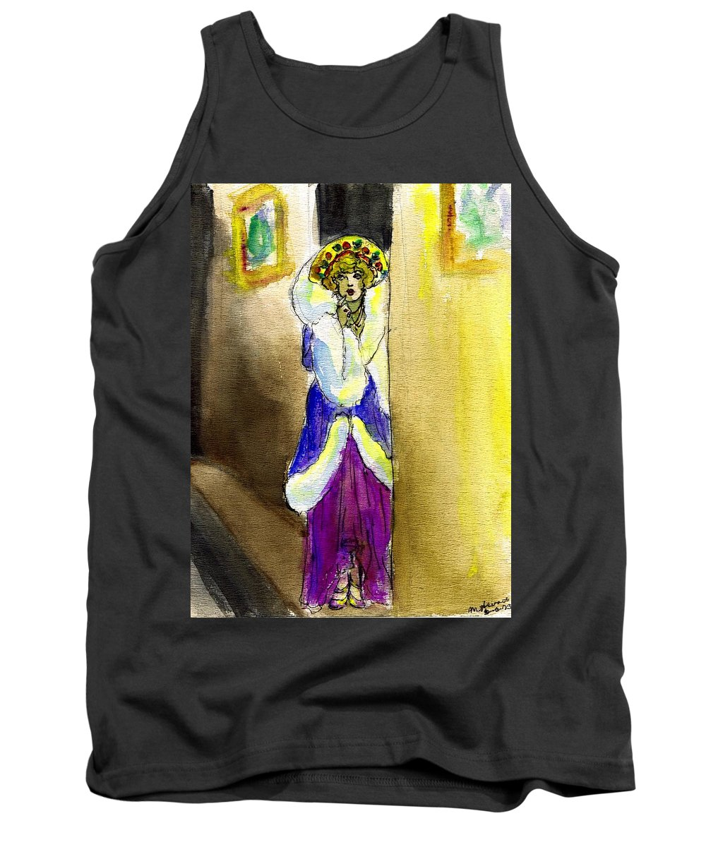 Nostalgia Tank Top featuring the drawing Marion Davies In Fur by Mel Thompson