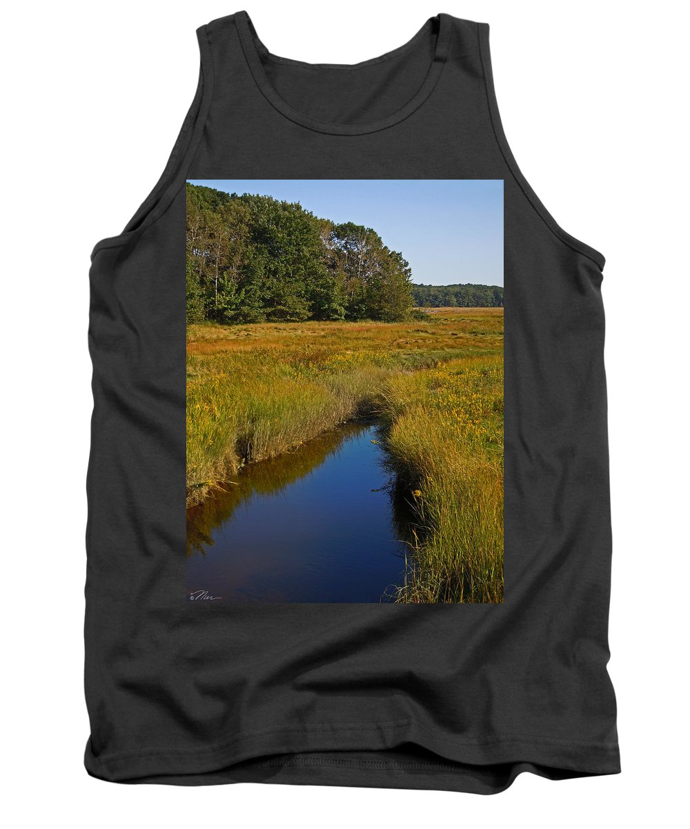 Pine_point Tank Top featuring the photograph Marsh Water by Nancy Griswold