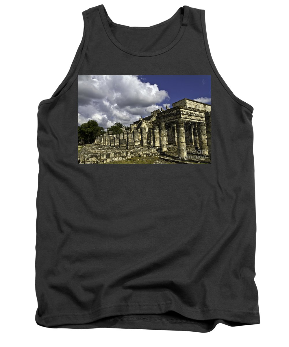 Chichen Itza Tank Top featuring the photograph Mayan Colonnade by Ken Frischkorn