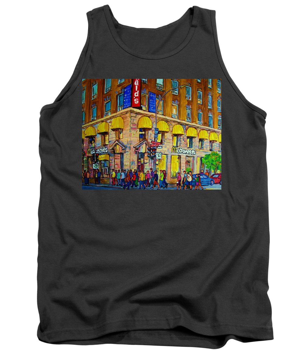 Mcdonald Restaurant Montreal Tank Top featuring the painting Mcdonald by Carole Spandau