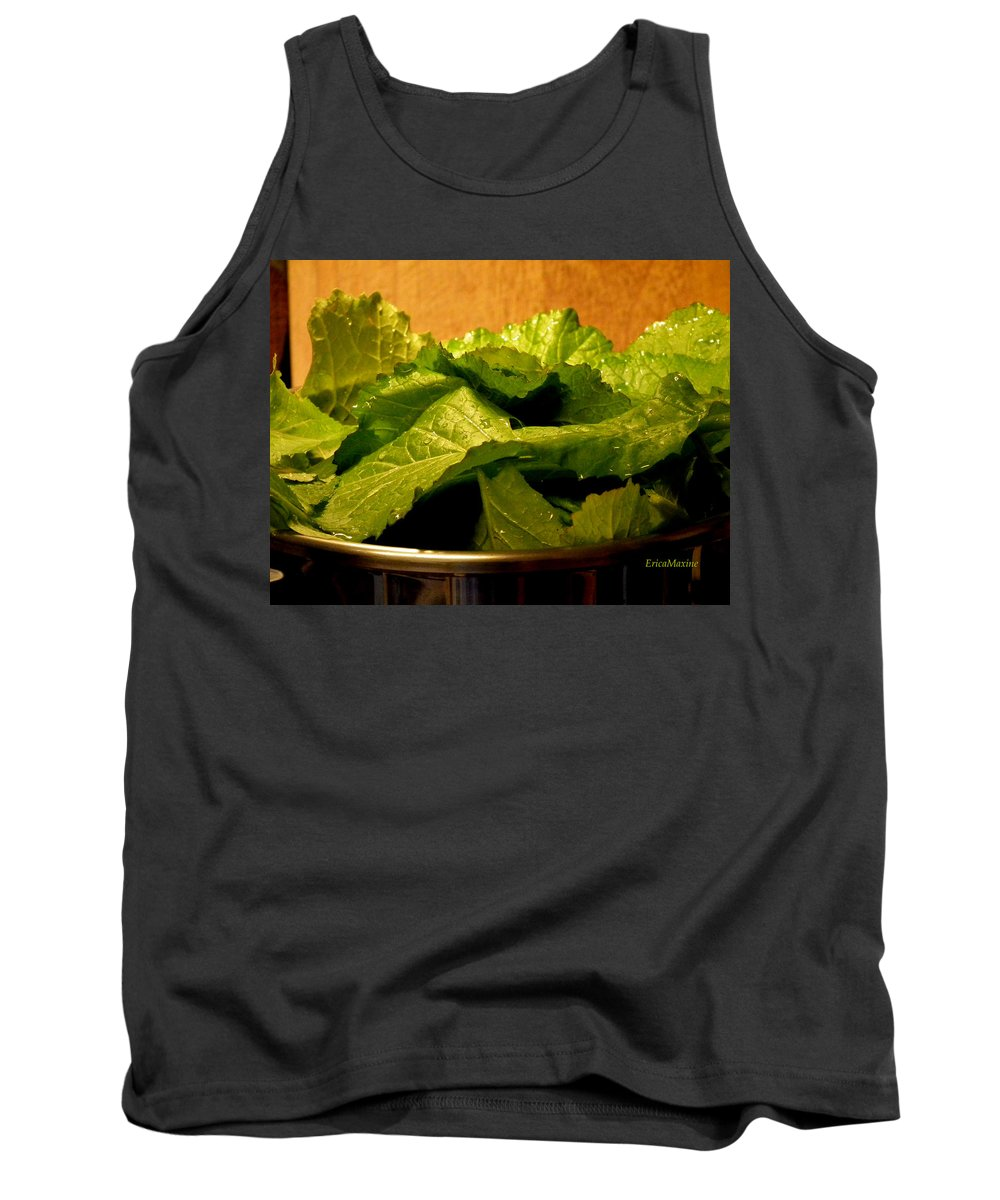 Mustard Green Tank Top featuring the photograph Mess Of Greens by Ericamaxine Price