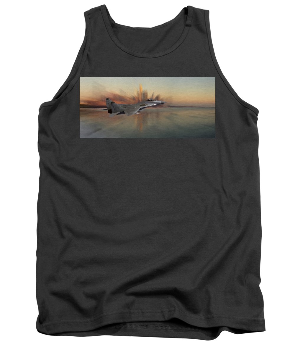 Mig 29 Approaching Fighter Plane Combat City Cityscape Fly Flying Sky Water Ocean Tank Top featuring the pastel Mig 29 Approaching by Steve K