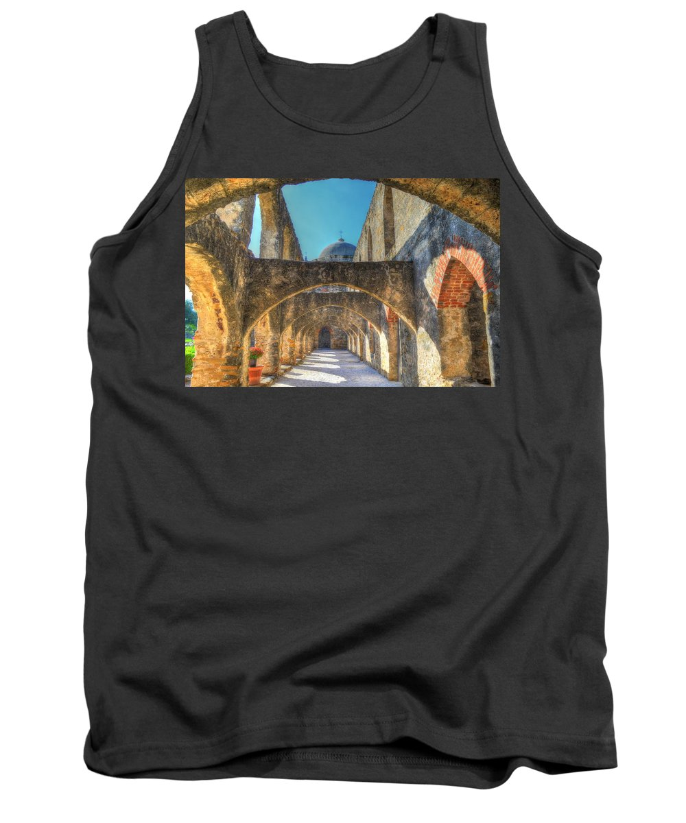 San Jose Mission Tank Top featuring the photograph Mission Arches by David Morefield