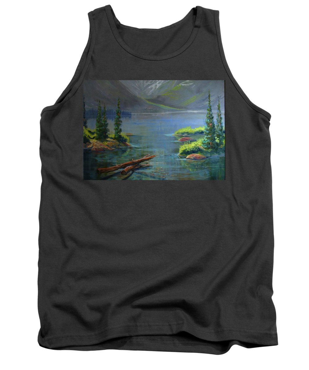 Misty Lake Tank Top featuring the painting Misty Lake by Heather Coen