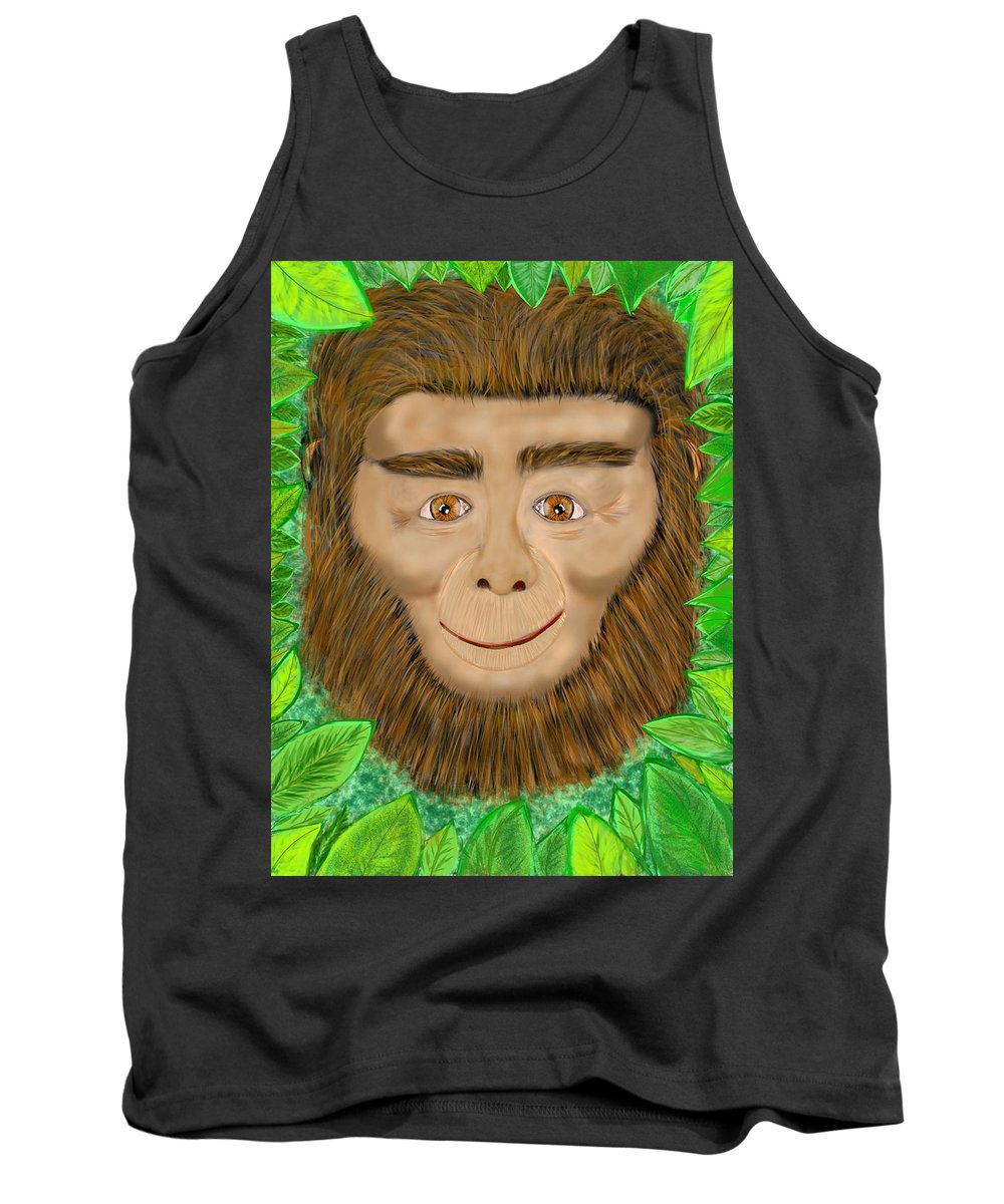 Tank Top featuring the digital art Monkey by Mathieu Lalonde