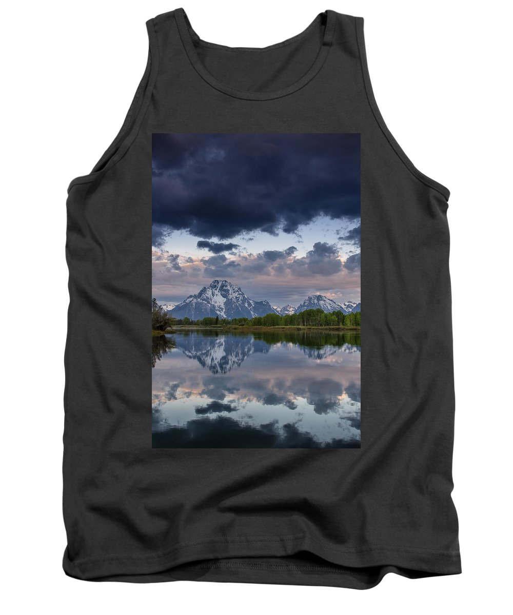 Grand Tetons National Park Tank Top featuring the photograph Mount Moran Under Black Cloud by Greg Nyquist