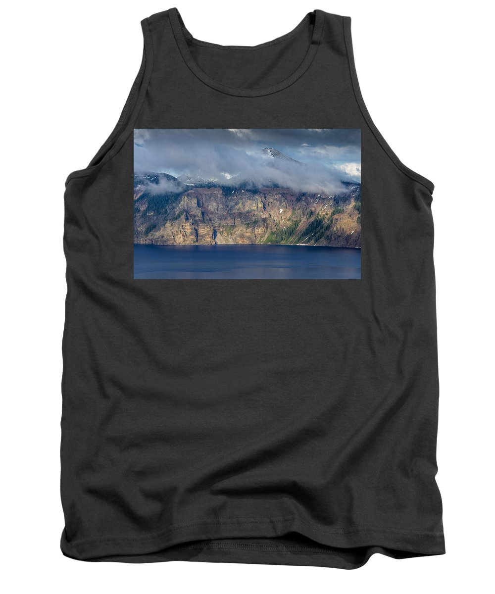 Crater Lake Tank Top featuring the photograph Mount Scott Cloud Shroud by Greg Nyquist