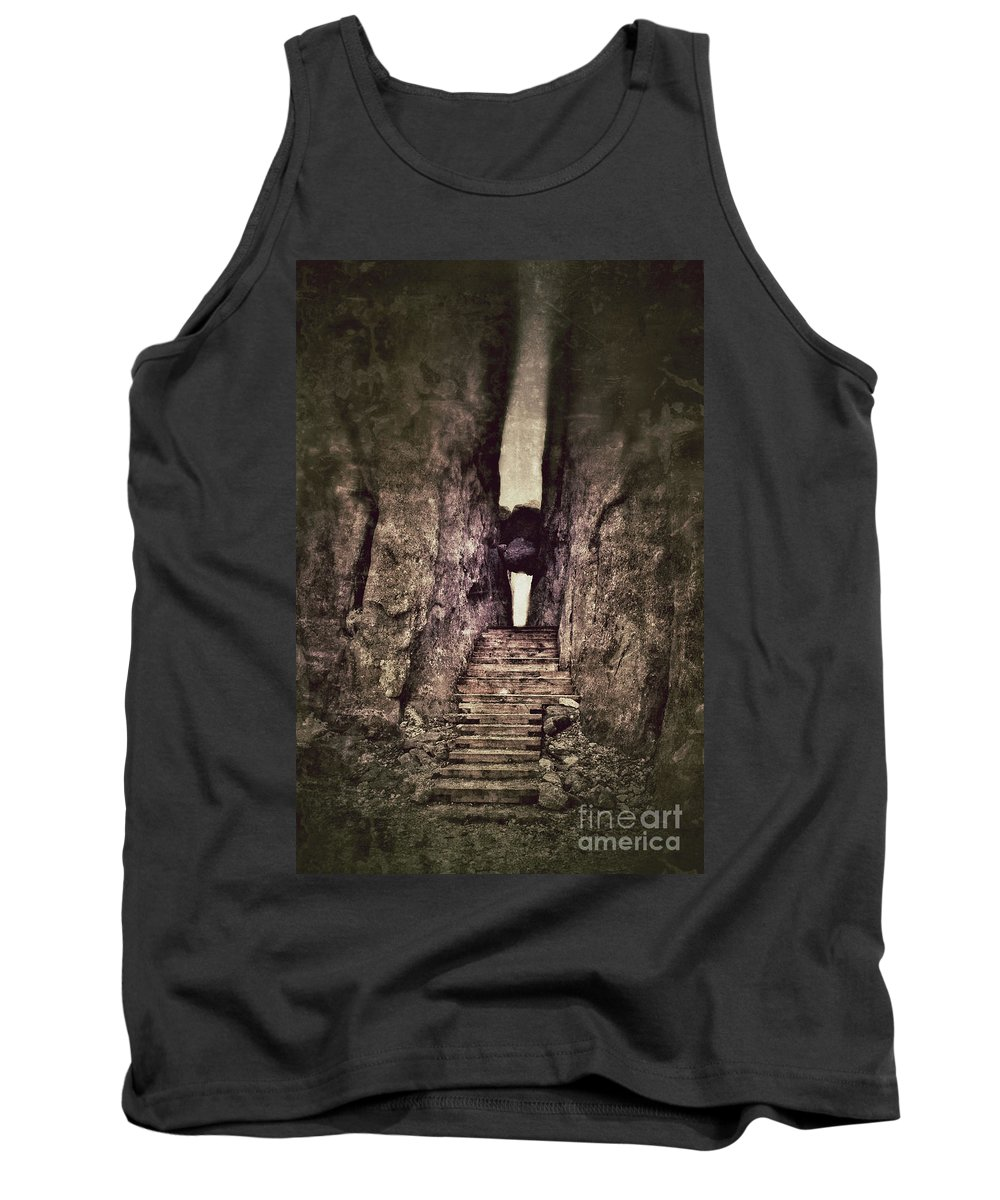 Granite Tank Top featuring the photograph Mysterious Stairway Into A Canyon by Jill Battaglia