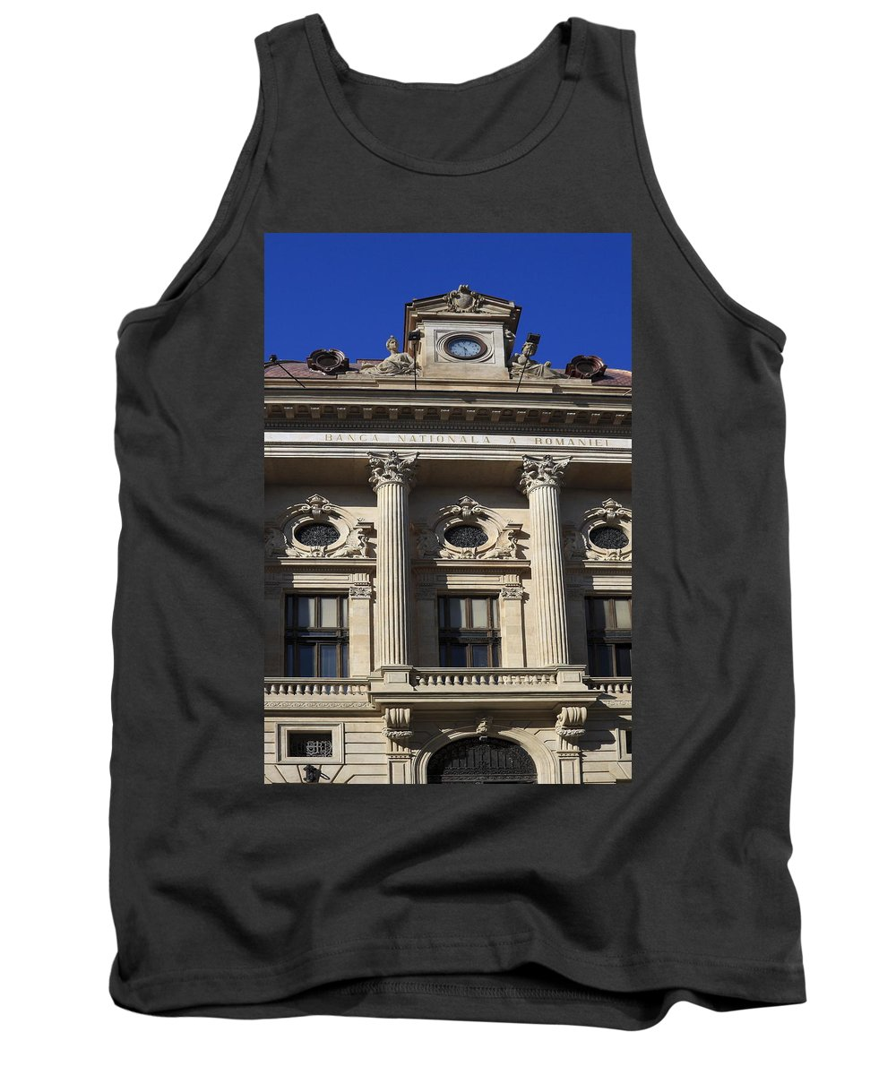 National Bank Of Romania Tank Top featuring the photograph National Bank Of Romania by Sally Weigand