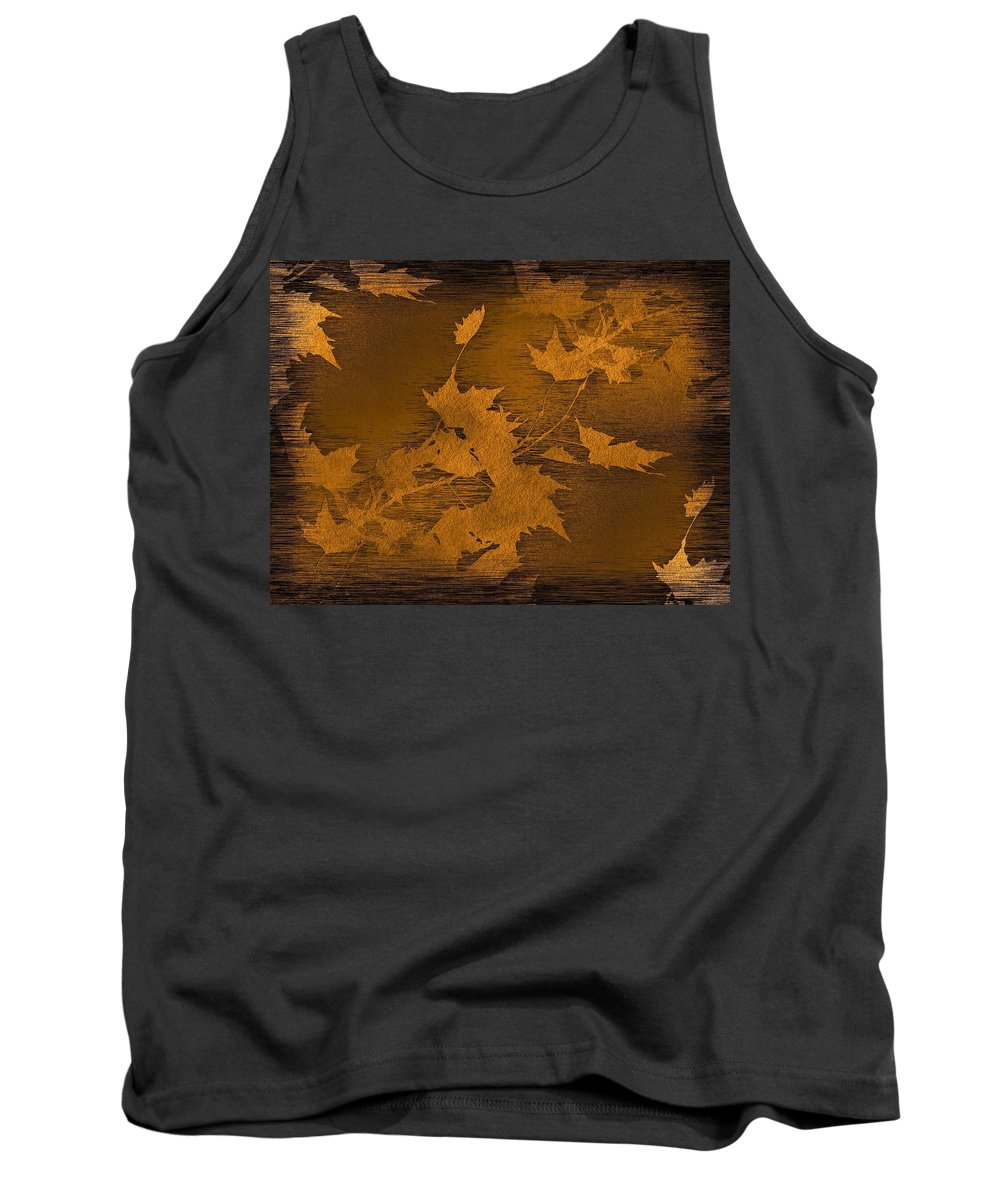 Leaf Tank Top featuring the digital art Natures Gold Leaf by Tim Allen