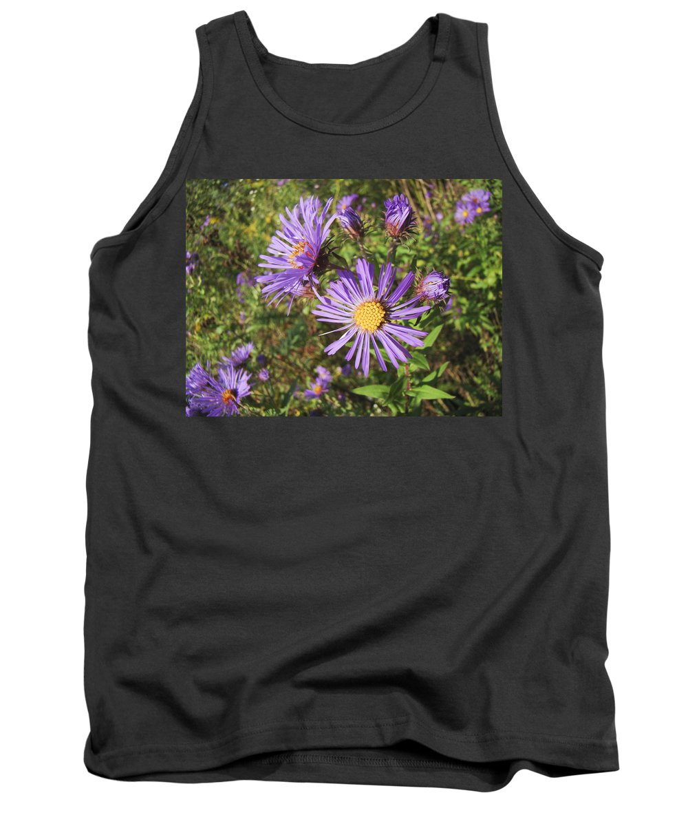 Aster Tank Top featuring the photograph New England Aster Wildflower - Purple by Mother Nature