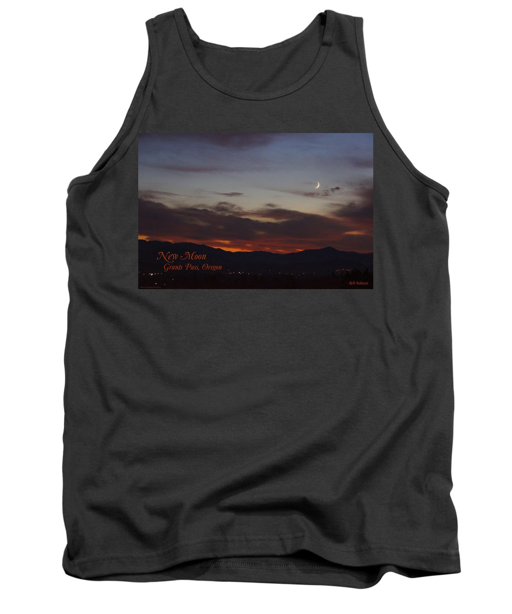 New Tank Top featuring the photograph New Moon Over Grants Pass With Text by Mick Anderson