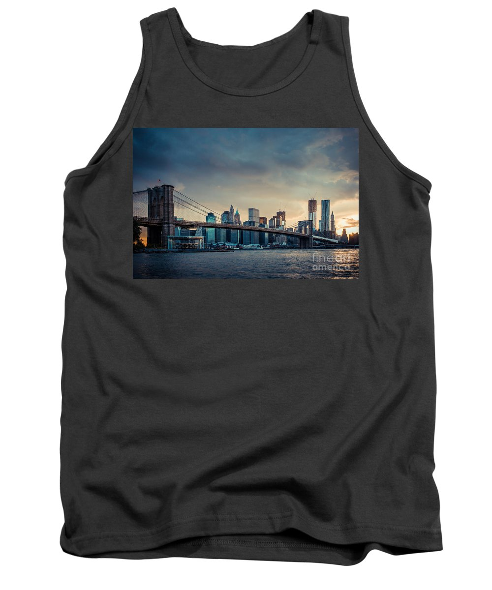 Nyc Tank Top featuring the photograph Nyc Skyline In The Sunset V1 by Hannes Cmarits