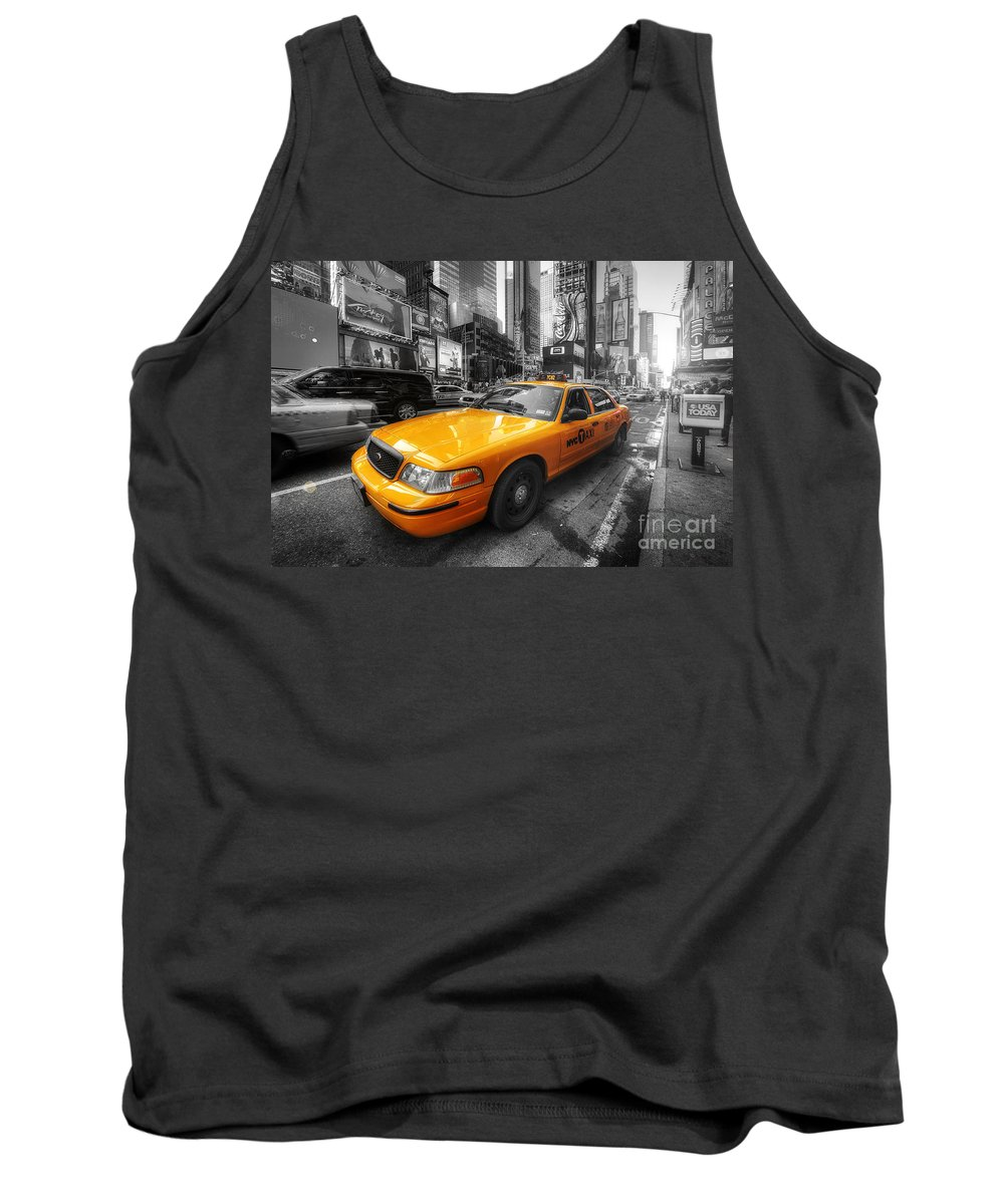 Art Tank Top featuring the photograph Nyc Yellow Cab by Yhun Suarez