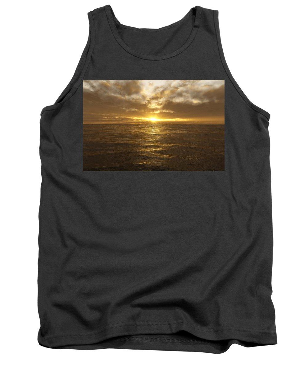 Seascape Tank Top featuring the digital art Ocean Sunset by Mark Greenberg
