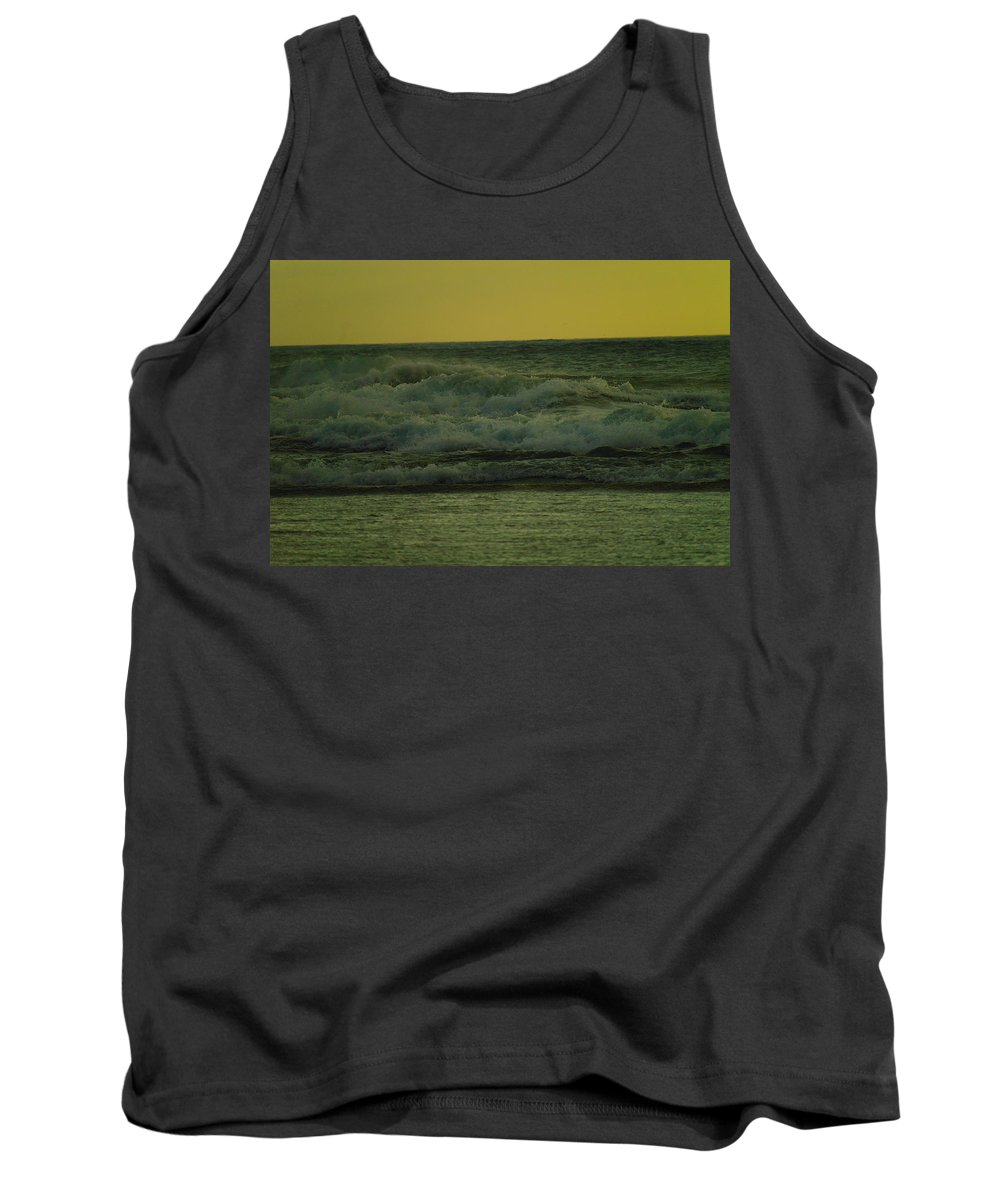 Waves Tank Top featuring the photograph Ocean Waves Coming In Near Sunset by Jeff Swan