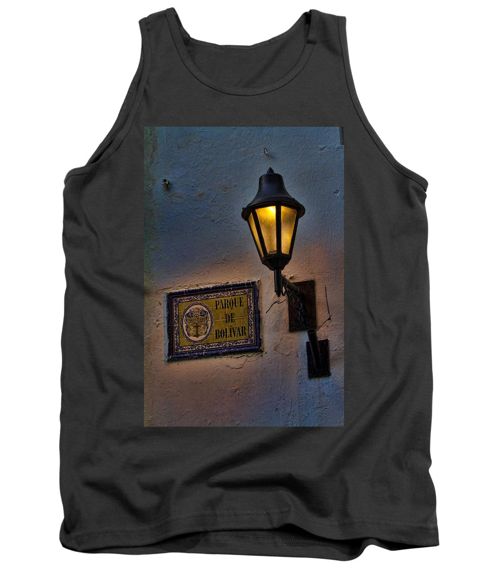 Cartagena Tank Top featuring the photograph Old Lamp On A Colonial Building In Old Cartagena Colombia by David Smith