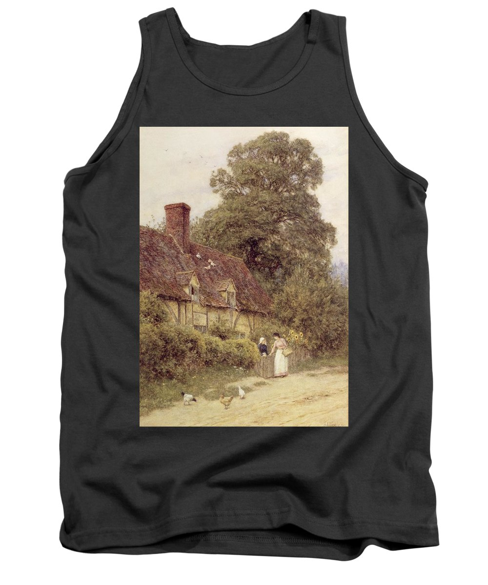Cottage; Friends; Gate; Rural Scene; Country; Countryside; Path; Sunflowers; Wildflowers; Chickens; Picturesque; Idyllic; Timber Frame; Half-timbered; Female Tank Top featuring the painting Old Post Office Brook Near Witley Surrey by Helen Allingham