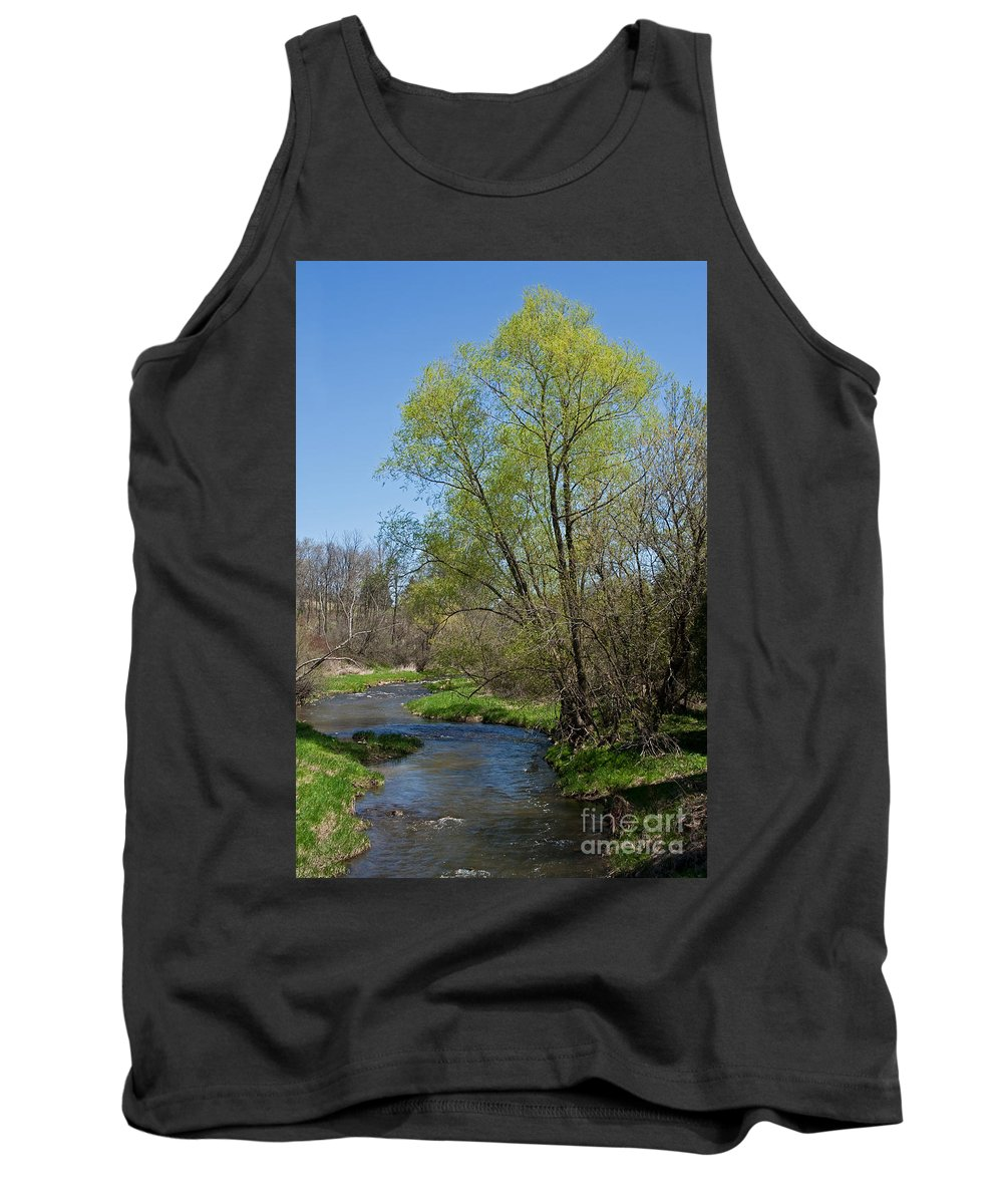 Landscape Tank Top featuring the photograph On The Banks Of Spring by Barbara McMahon