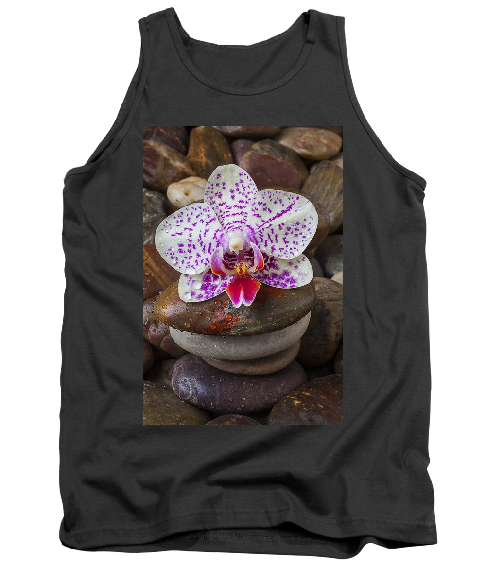 Orchid Tank Top featuring the photograph Orchid On Stack Of Rocks by Garry Gay