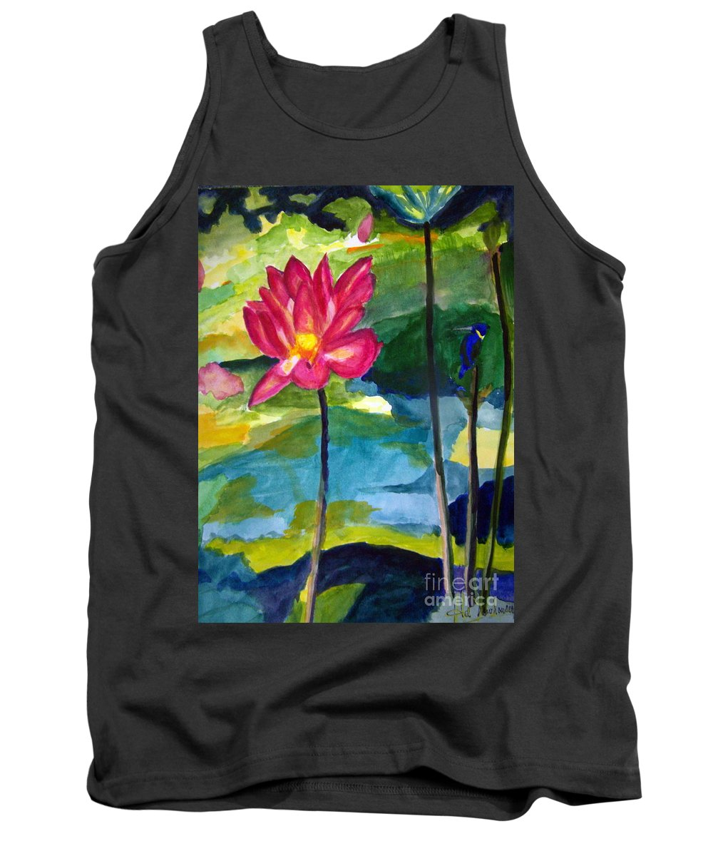 Pond Tank Top featuring the painting Orchid With Blue Bird by Hal Newhouser