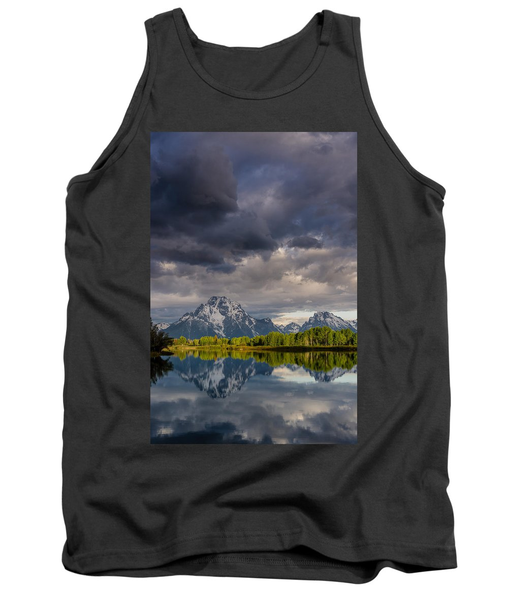 Grand Tetons National Park Tank Top featuring the photograph Oxbow Light And Clouds by Greg Nyquist