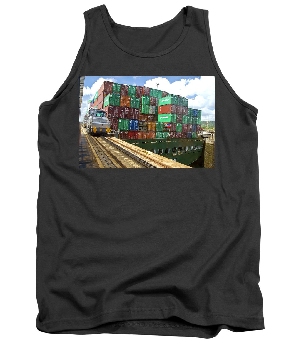 Panama Canal Tank Top featuring the photograph Pack'em High And Pack'em Wide by Jon Berghoff