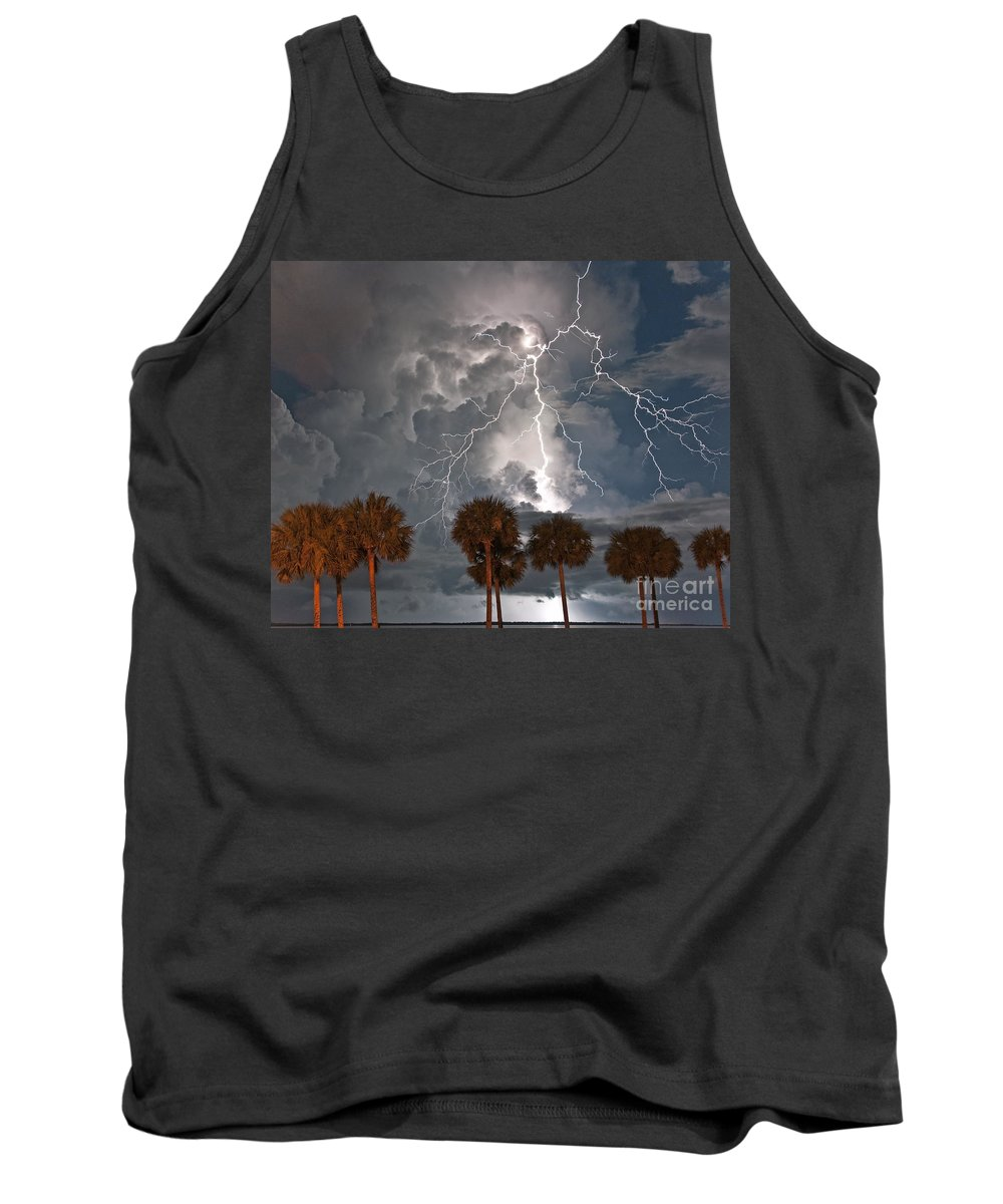 Lightning Tank Top featuring the photograph Palms And Lightning by Stephen Whalen