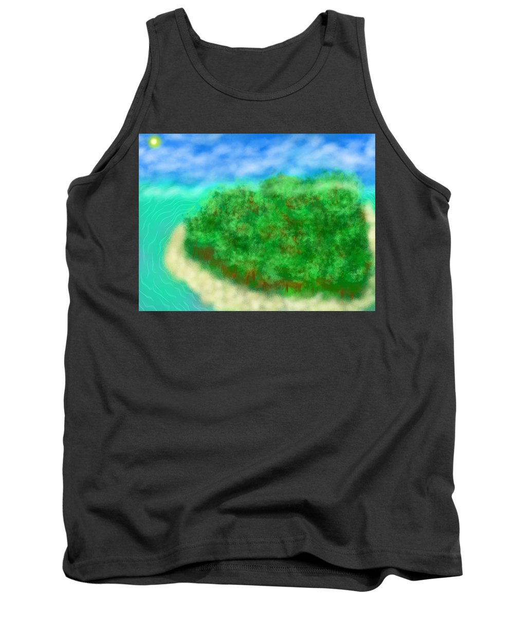 Tank Top featuring the digital art Paradise by Mathieu Lalonde