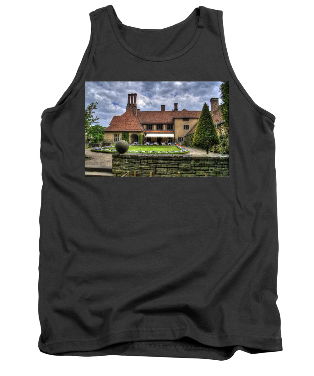 Neuer Garten Tank Top featuring the photograph Patio Restaurant At Cecilienhof Palace by Jon Berghoff