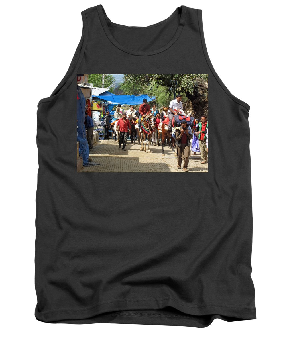 Vaishno Devi Tank Top featuring the photograph People On Horseback And On Foot Making The Climb To The Vaishno Devi Shrine In India by Ashish Agarwal