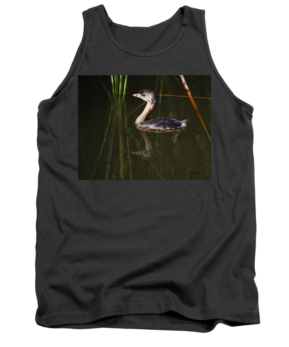 Roena King Tank Top featuring the photograph Pied-billed Grebe In The Reeds by Roena King