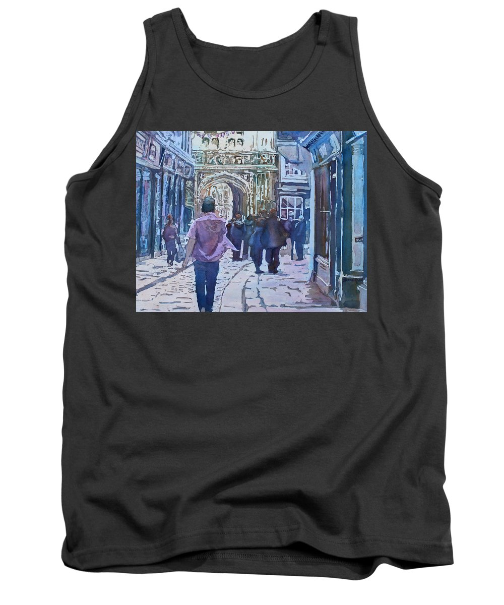 Canterbury Tank Top featuring the painting Pilgrims At The Gate by Jenny Armitage