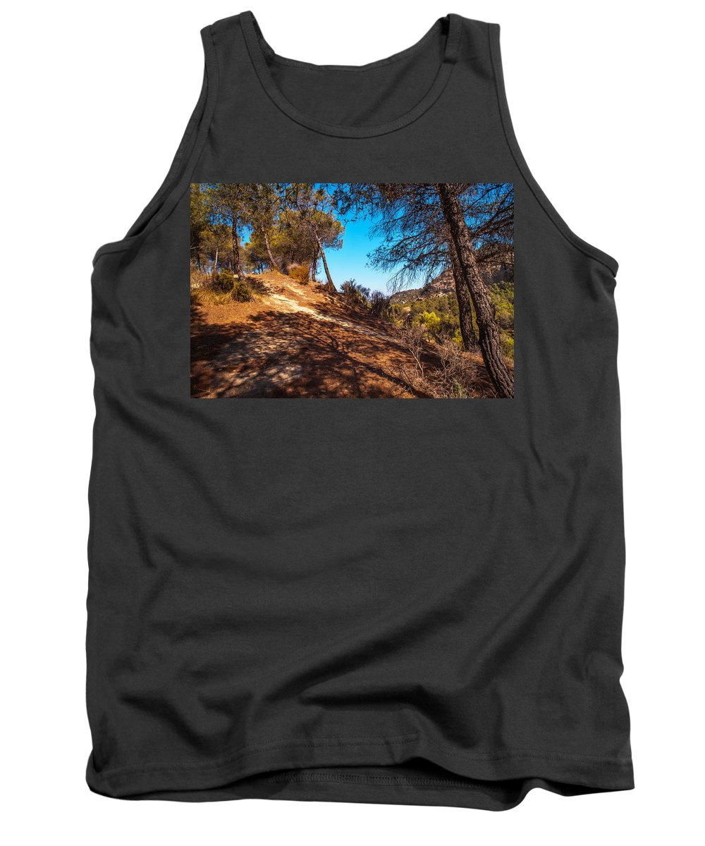 Nature Tank Top featuring the photograph Pine Trees In El Chorro. Spain by Jenny Rainbow