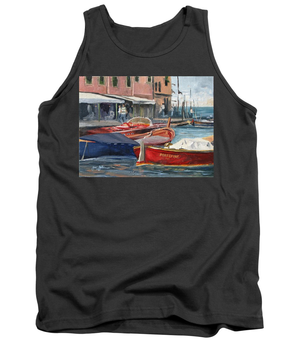 Italy Harbor Boats Tank Top featuring the painting Portofino Afternoon by Jay Johnson