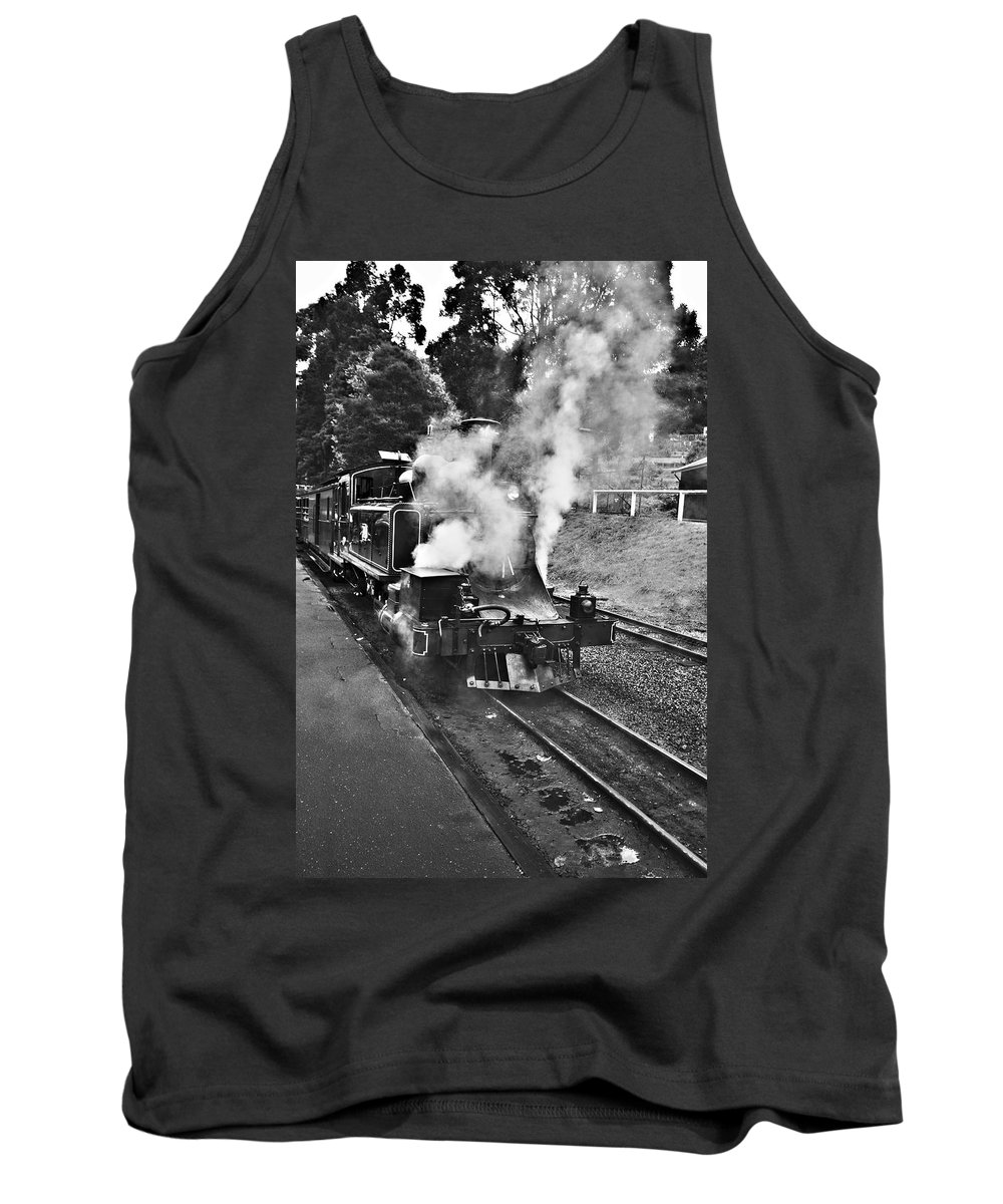 Puffing Billy Tank Top featuring the photograph Puffing Billy Black And White by Douglas Barnard