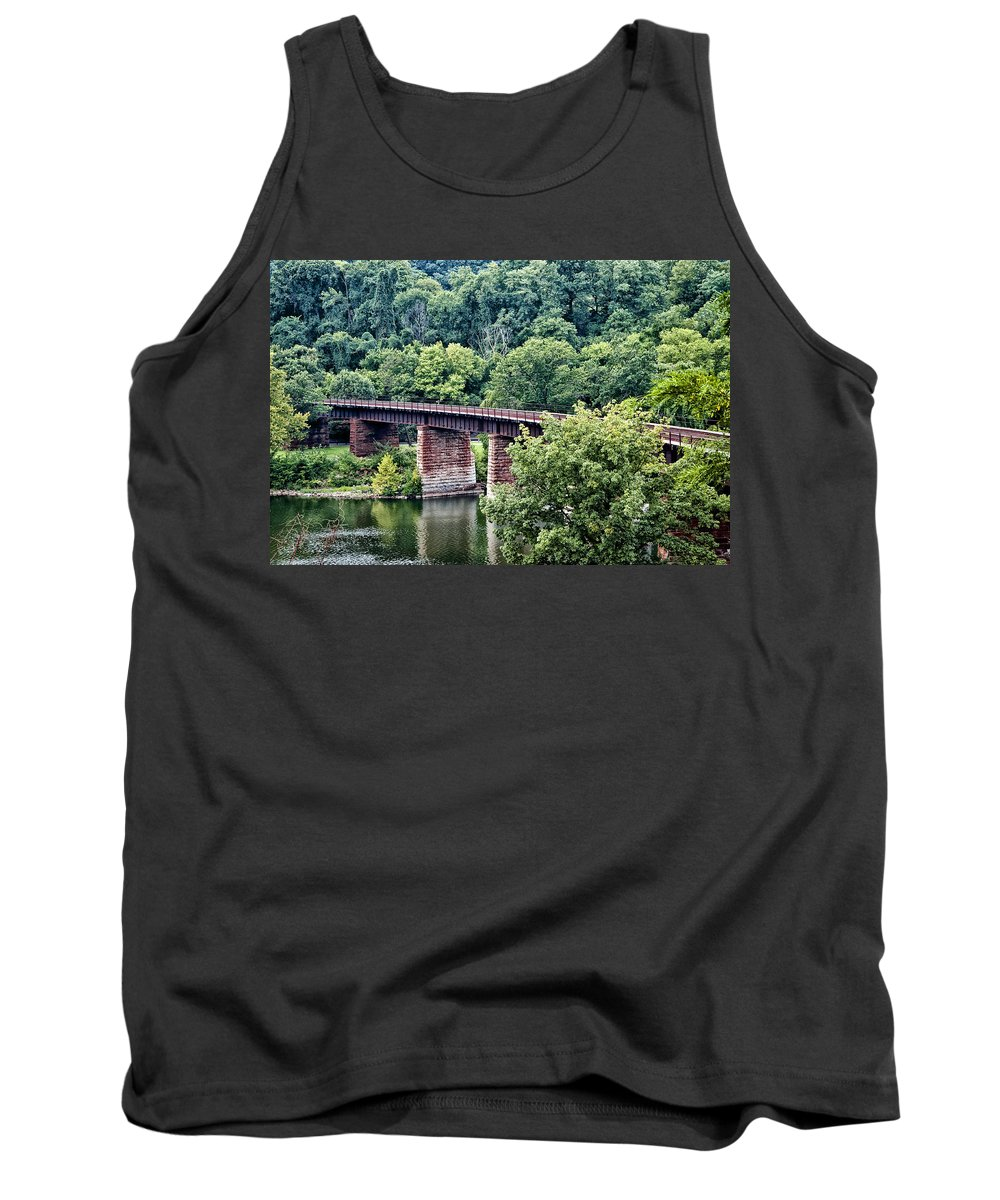 Railroad Bridge At East Falls Philadelphia Tank Top featuring the photograph Railroad Bridge At East Falls Philadelphia by Bill Cannon