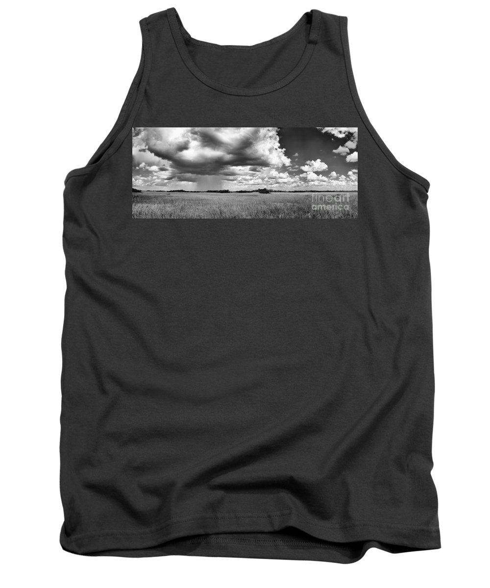 Black And White Tank Top featuring the photograph Rain Everglades by Bruce Bain