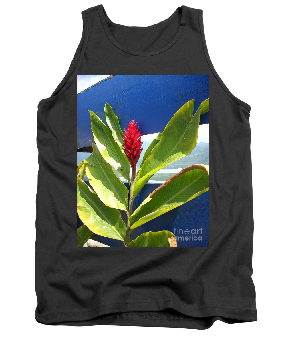 Flower Tank Top featuring the photograph Red Ginger by Randi Shenkman