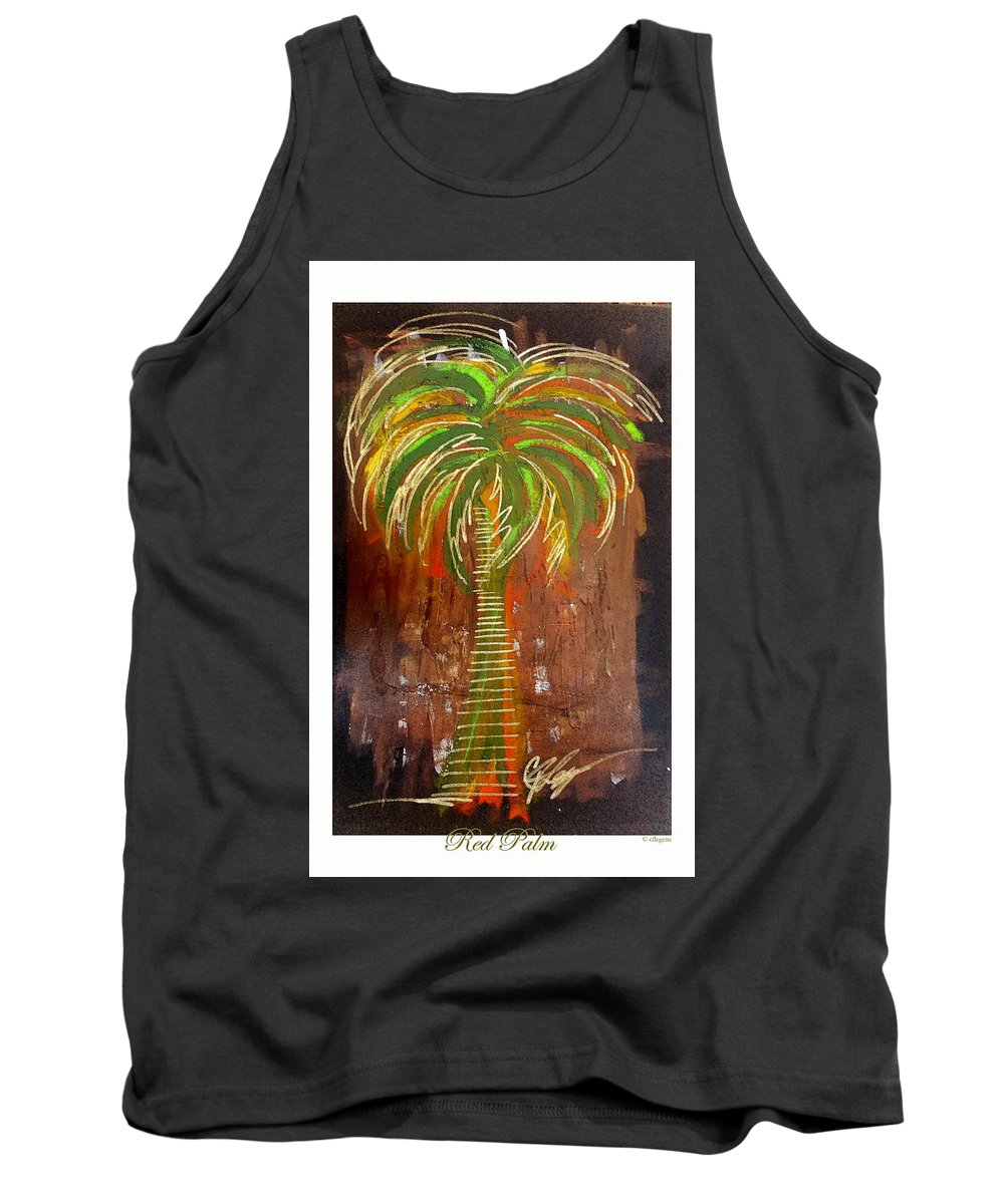 Red Tank Top featuring the painting Red Palm by C F Legette