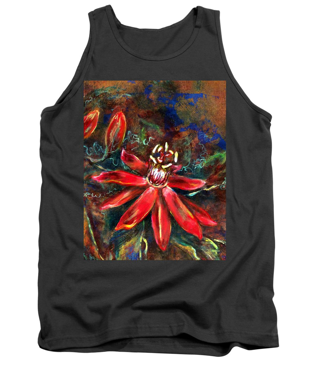 Floral Tank Top featuring the painting Red Passion by Ashley Kujan