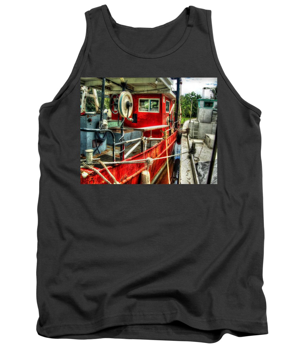 Alabama Photographer Tank Top featuring the digital art Red Shrimper by Michael Thomas