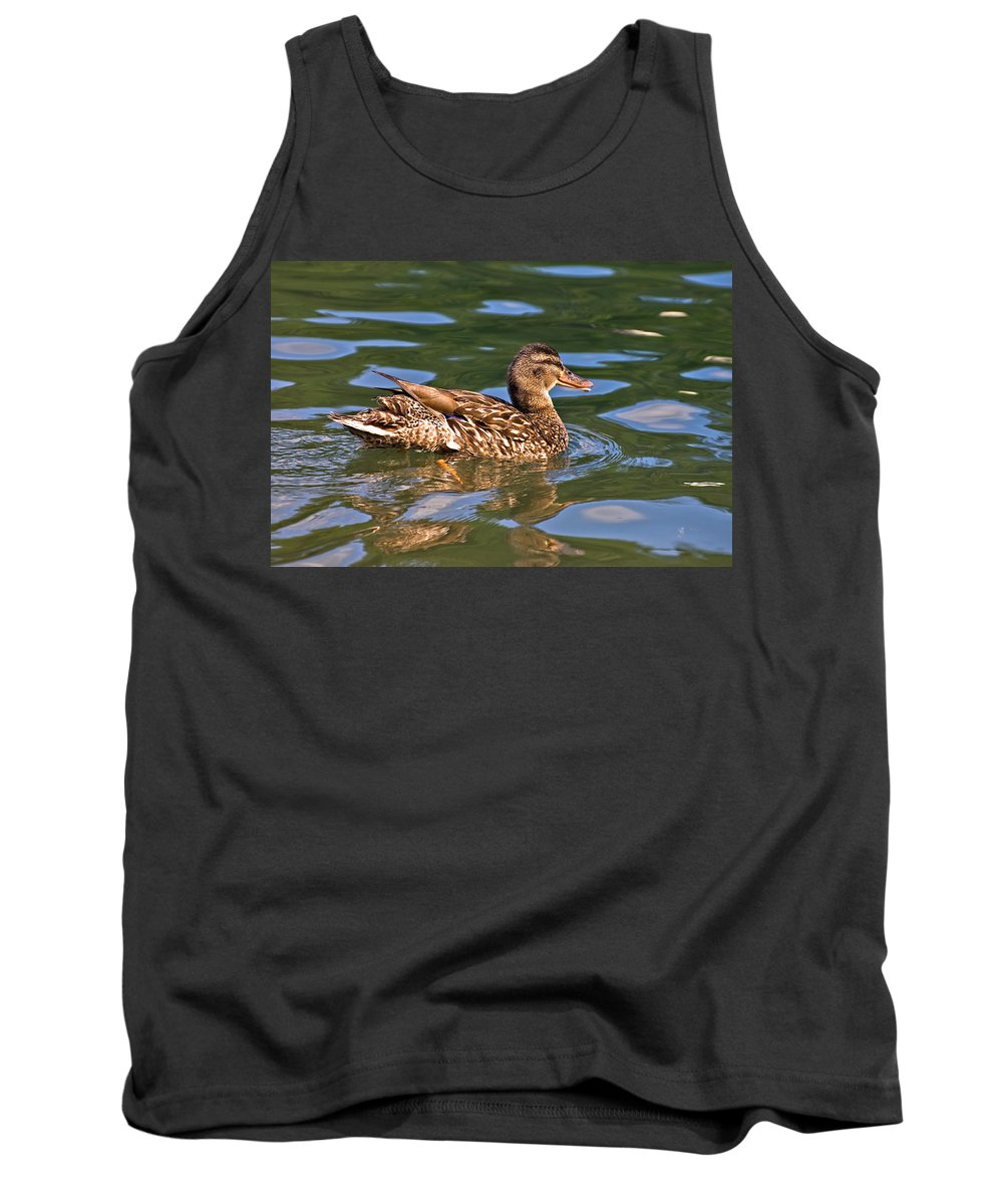 Tank Top featuring the photograph Reflected Duck by Susan Leggett