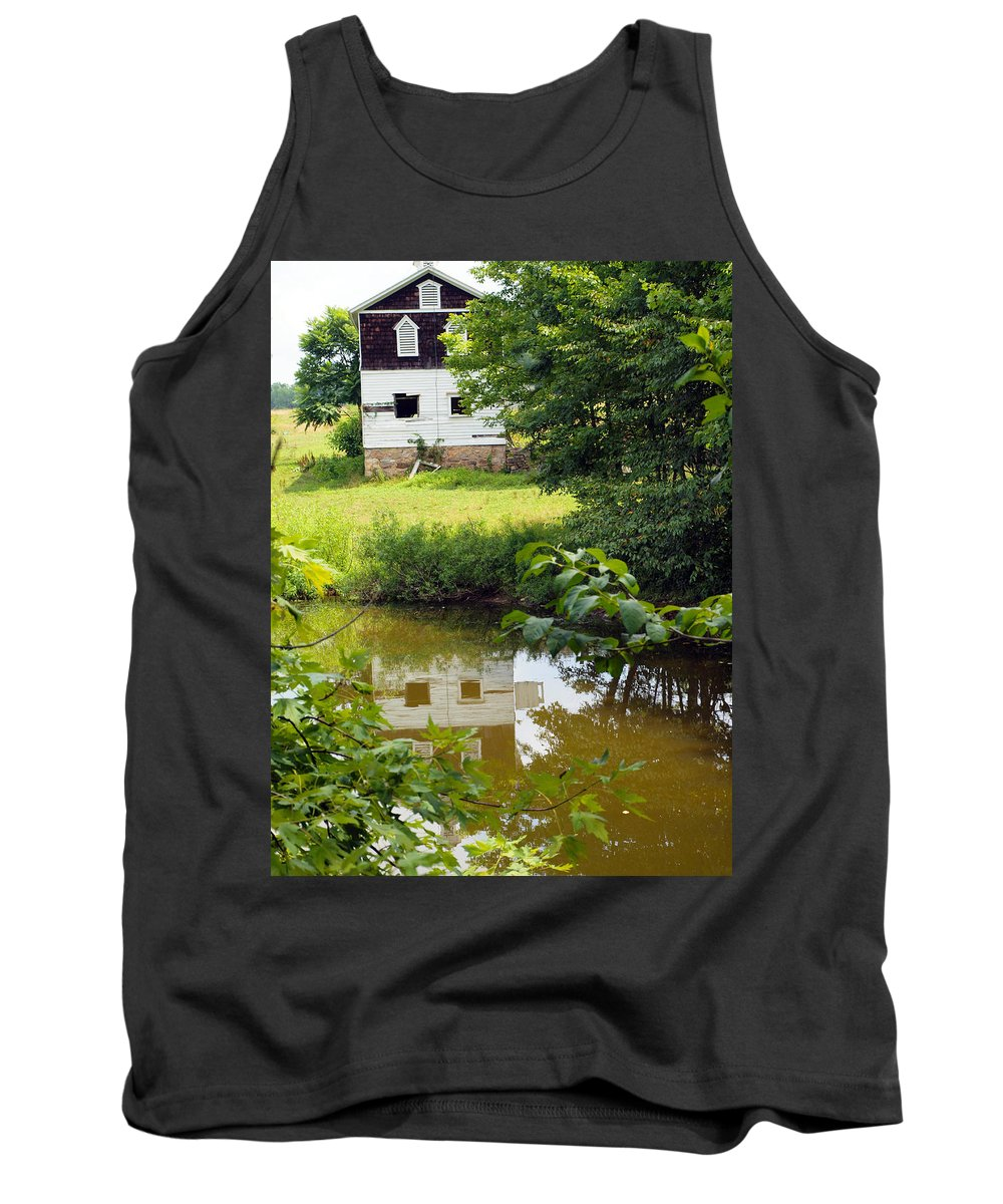 Farm Animals Tank Top featuring the photograph Reflection Of The Barn by Robert Margetts