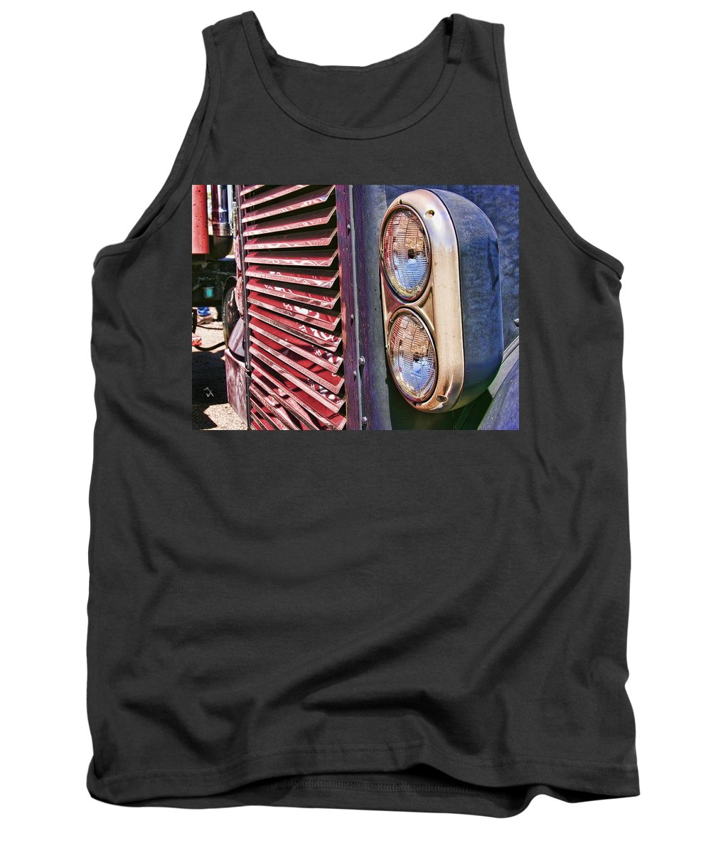 Grill. Big Truck Tank Top featuring the photograph Reflective Grill by Adam Vance