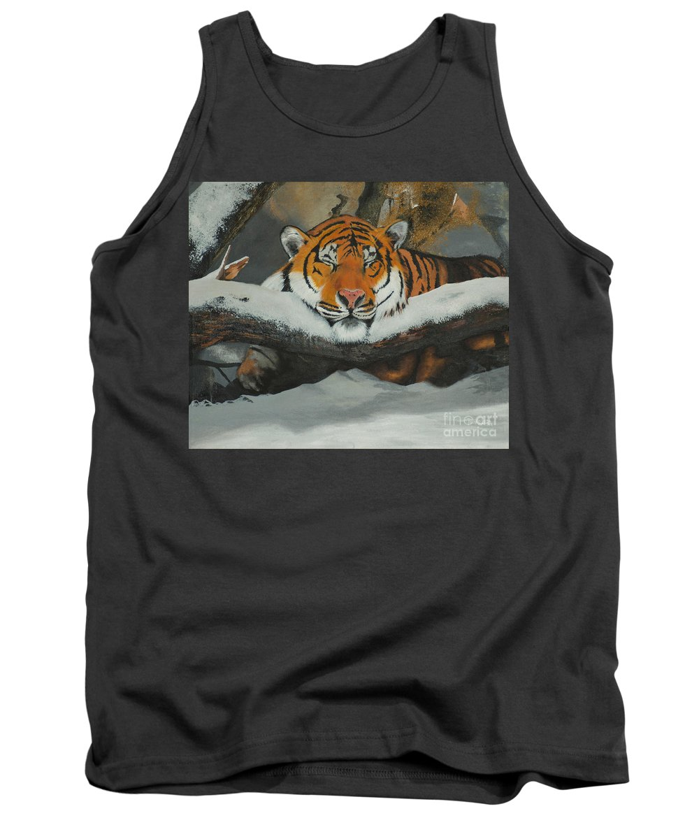Tiger Tank Top featuring the painting Resting Tiger by Tom Luca