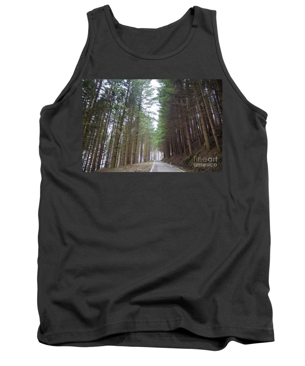 Road Tank Top featuring the photograph Road In The Forest by Mats Silvan