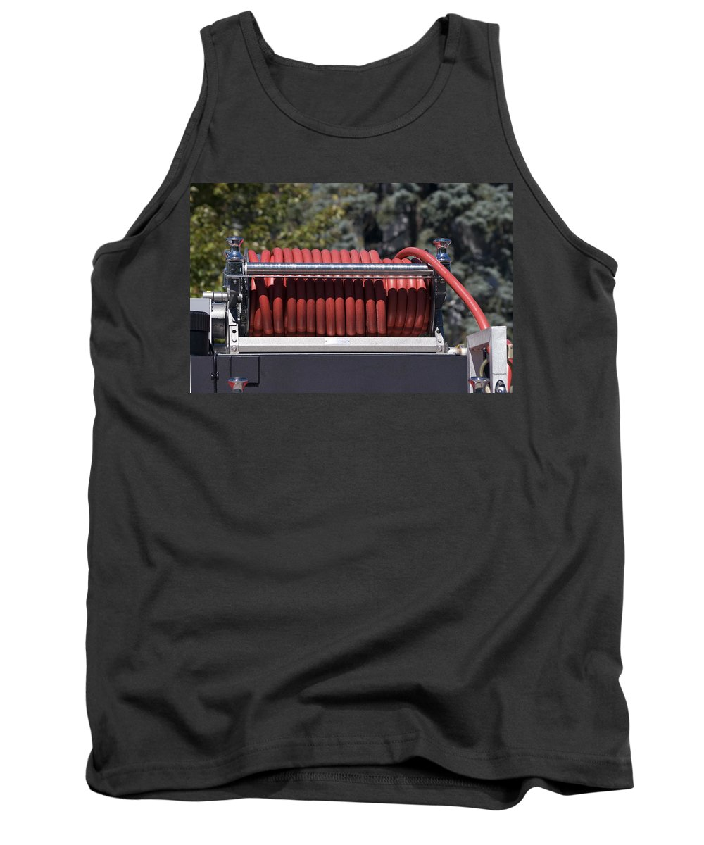 Featured Tank Top featuring the photograph Rolled Fire Hose by Thomas Woolworth