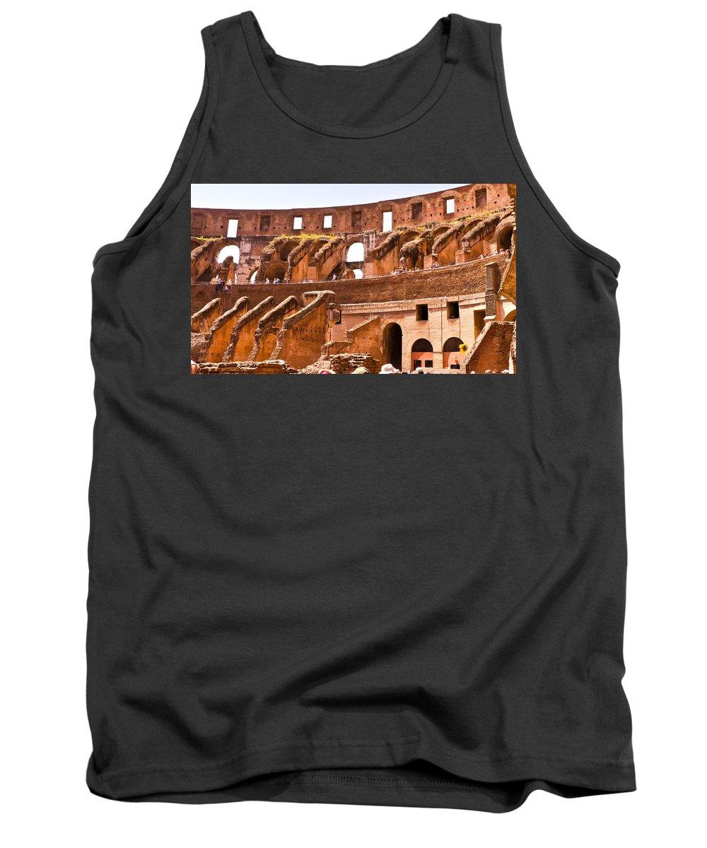 Rome Tank Top featuring the photograph Roman Coliseum Interior by Jon Berghoff